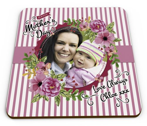 Personalised Happy Mothers Day Image & Text Glossy Mug Coaster